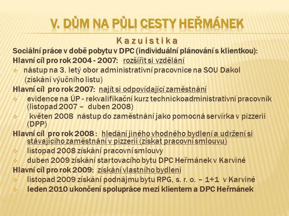 K a z u i s t i k a Sociální práce v době pobytu v DPC (individuální plánování s klientkou): Hlavní cíl pro rok 2004 - 2007: rozšířit si vzdělání  nástup na 3.