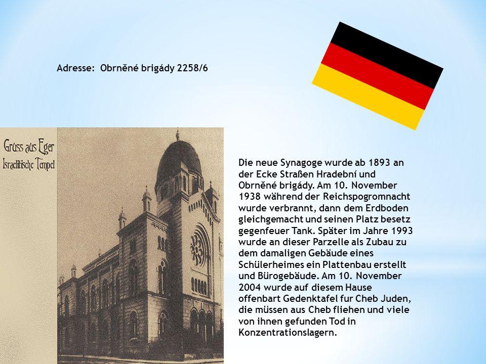 The new synagogue stood since 1893 at the corner Hradební and Obrněné brigády.On 10.