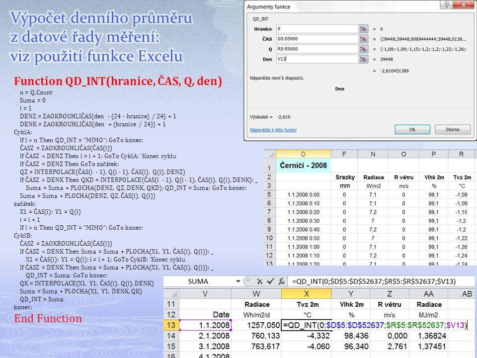 Function QD_INT(hranice, ČAS, Q, den) n = Q.Count Suma = 0 i = 1 DENZ = ZAOKROUHLIČAS(den - (24 - hranice) / 24) + 1 DENK = ZAOKROUHLIČAS(den + (hrani