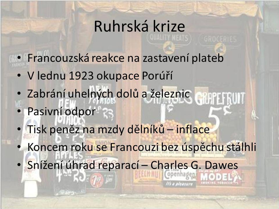 Ruhrská krize • Francouzská reakce na zastavení plateb • V lednu 1923 okupace Porúří • Zabrání uhelných dolů a železnic • Pasivní odpor • Tisk peněz n