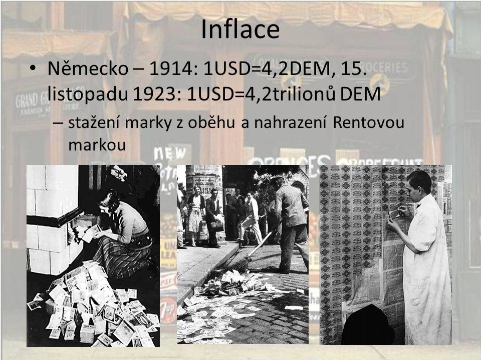 Inflace • Německo – 1914: 1USD=4,2DEM, 15. listopadu 1923: 1USD=4,2trilionů DEM – stažení marky z oběhu a nahrazení Rentovou markou