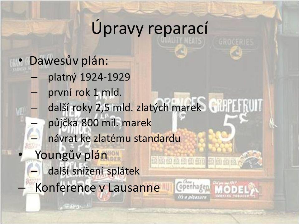 Úpravy reparací • Dawesův plán: – platný 1924-1929 – první rok 1 mld. – další roky 2,5 mld. zlatých marek – půjčka 800 mil. marek – návrat ke zlatému