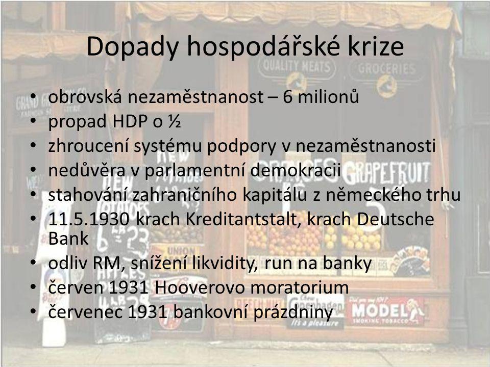Dopady hospodářské krize • obrovská nezaměstnanost – 6 milionů • propad HDP o ½ • zhroucení systému podpory v nezaměstnanosti • nedůvěra v parlamentní demokracii • stahování zahraničního kapitálu z německého trhu • 11.5.1930 krach Kreditantstalt, krach Deutsche Bank • odliv RM, snížení likvidity, run na banky • červen 1931 Hooverovo moratorium • červenec 1931 bankovní prázdniny
