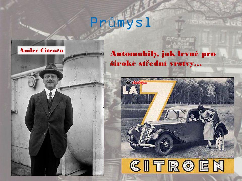 Průmysl Automobily, jak levné pro široké st ř ední vrstvy… André Citroën