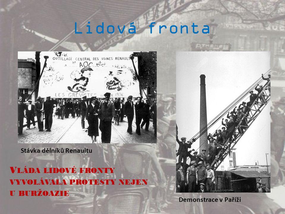 Lidová fronta V LÁDA LIDOVÉ FRONTY VYVOLÁVALA PROTESTY NEJEN U BURŽOAZIE Stávka dělníků Renaultu Demonstrace v Paříži