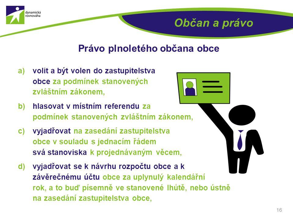 16 Občan a právo Právo plnoletého občana obce a)volit a být volen do zastupitelstva obce za podmínek stanovených zvláštním zákonem, b)hlasovat v místn