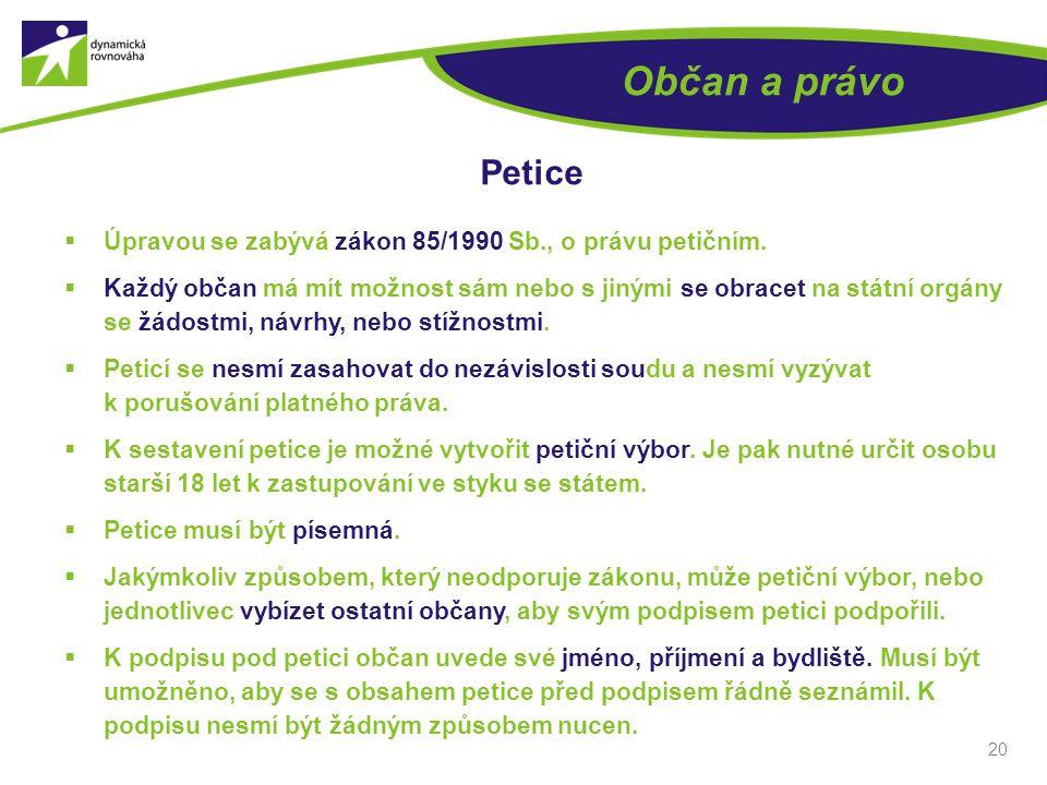 20 Občan a právo Petice  Úpravou se zabývá zákon 85/1990 Sb., o právu petičním.  Každý občan má mít možnost sám nebo s jinými se obracet na státní o