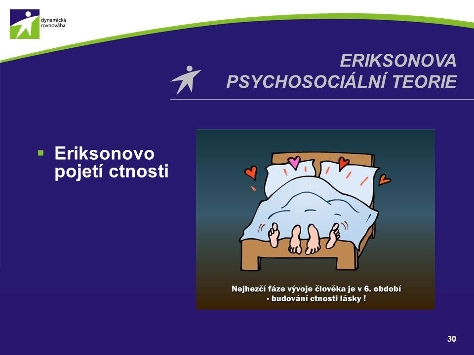  Eriksonovo pojetí ctnosti 30 ERIKSONOVA PSYCHOSOCIÁLNÍ TEORIE