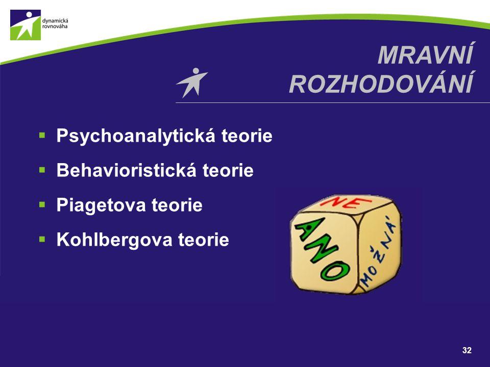  Psychoanalytická teorie  Behavioristická teorie  Piagetova teorie  Kohlbergova teorie 32 MRAVNÍ ROZHODOVÁNÍ