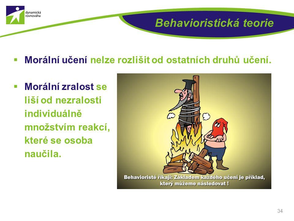 Behavioristická teorie  Morální učení nelze rozlišit od ostatních druhů učení.  Morální zralost se liší od nezralosti individuálně množstvím reakcí,