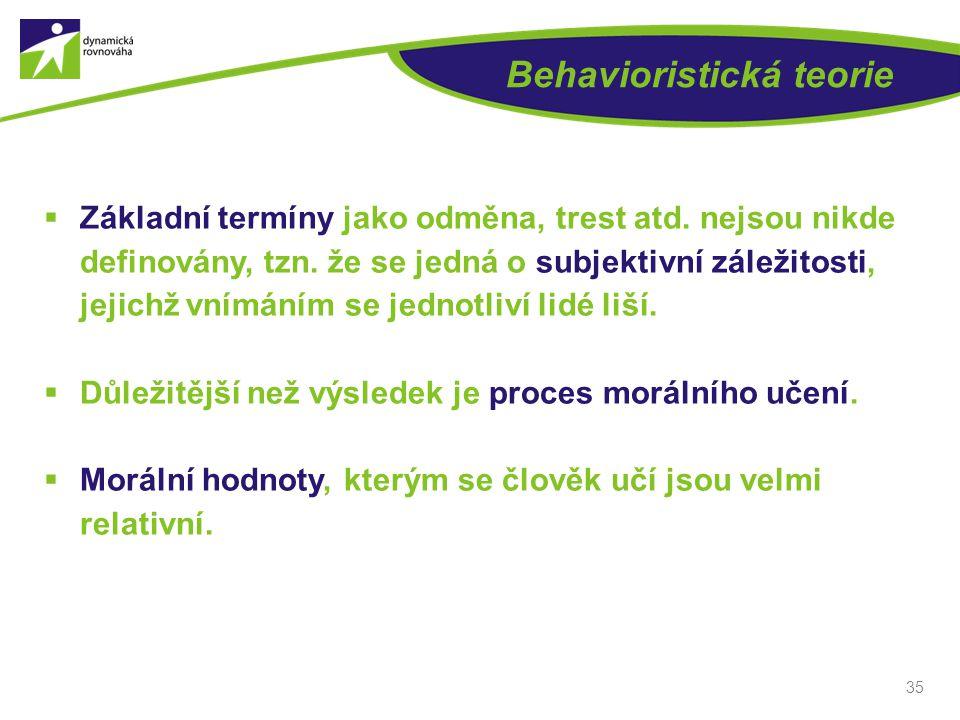 Behavioristická teorie  Základní termíny jako odměna, trest atd. nejsou nikde definovány, tzn. že se jedná o subjektivní záležitosti, jejichž vnímání