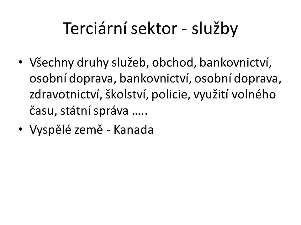 Terciární sektor - služby • Všechny druhy služeb, obchod, bankovnictví, osobní doprava, bankovnictví, osobní doprava, zdravotnictví, školství, policie
