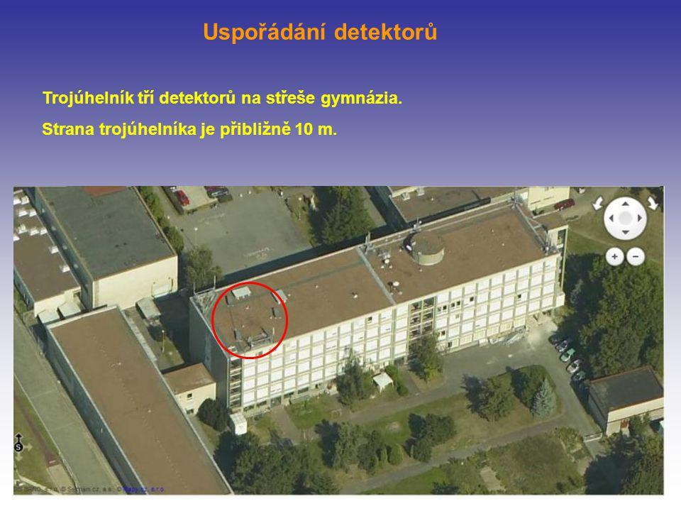 Trojúhelník tří detektorů na střeše gymnázia. Strana trojúhelníka je přibližně 10 m.