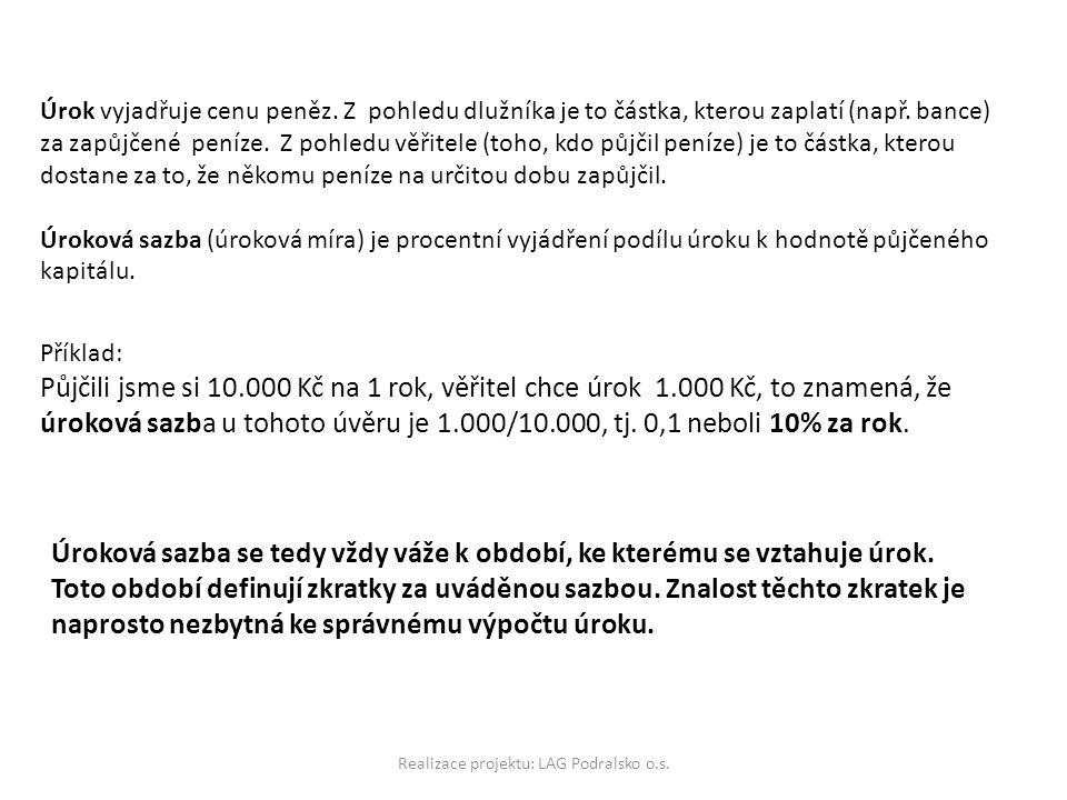 Realizace projektu: LAG Podralsko o.s.Úrok vyjadřuje cenu peněz.