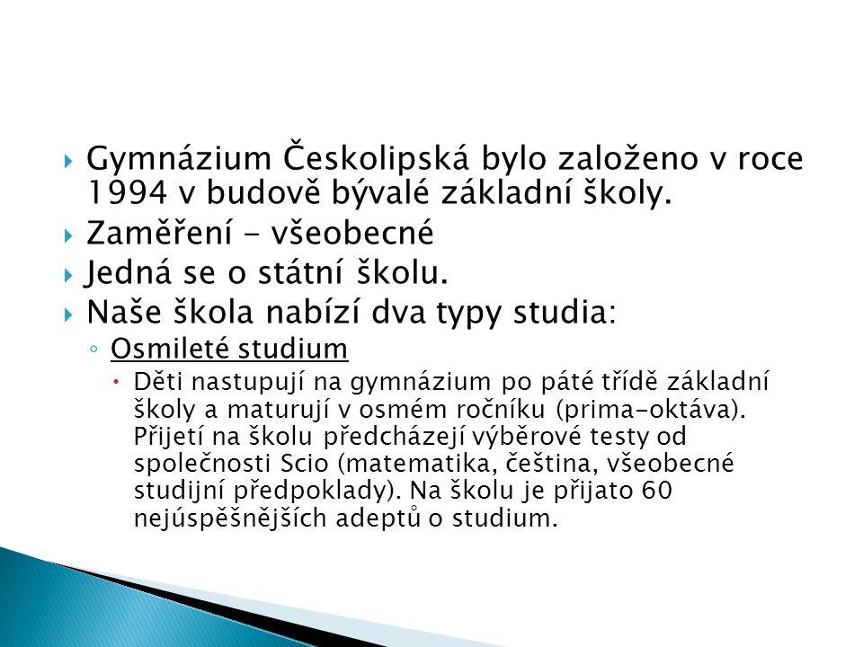  Gymnázium Českolipská bylo založeno v roce 1994 v budově bývalé základní školy.  Zaměření - všeobecné  Jedná se o státní školu.  Naše škola nabíz