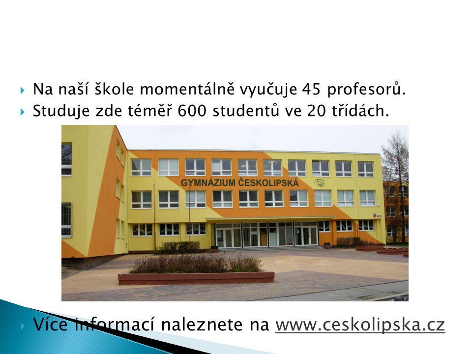  Na naší škole momentálně vyučuje 45 profesorů.  Studuje zde téměř 600 studentů ve 20 třídách.  Více informací naleznete na www.ceskolipska.cz