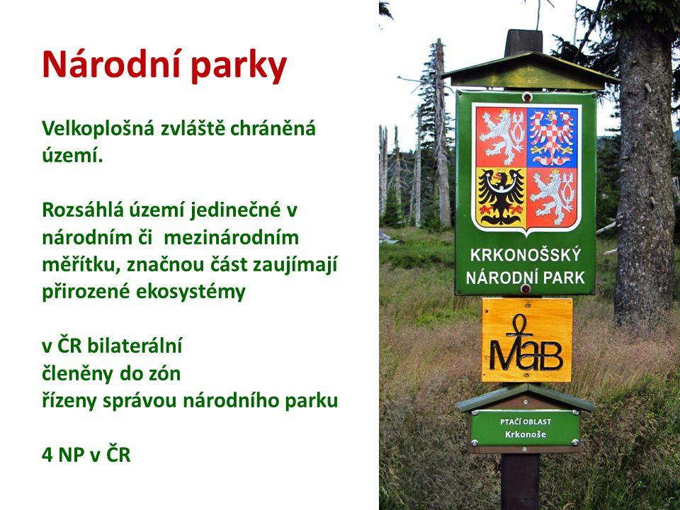 Národní parky Velkoplošná zvláště chráněná území. Rozsáhlá území jedinečné v národním či mezinárodním měřítku, značnou část zaujímají přirozené ekosys