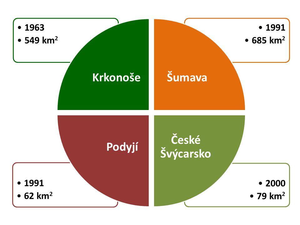 •2000 •79 km 2 •1991 •62 km 2 •1991 •685 km 2 •1963 •549 km 2 Krkonoše Šumava České Švýcarsko Podyjí