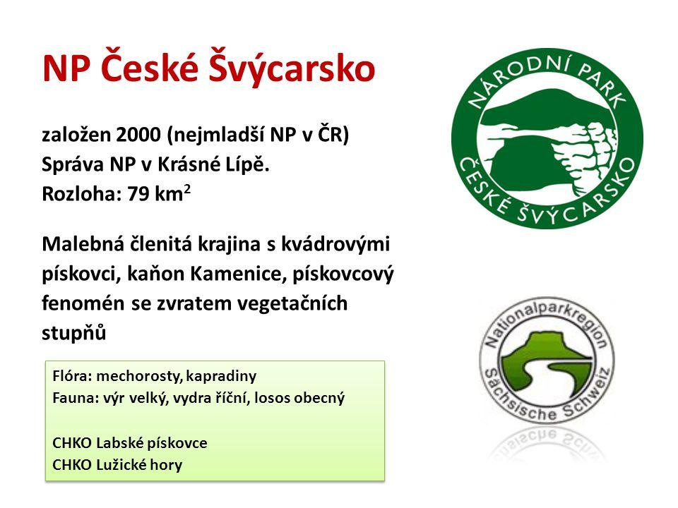 NP České Švýcarsko založen 2000 (nejmladší NP v ČR) Správa NP v Krásné Lípě. Rozloha: 79 km 2 Malebná členitá krajina s kvádrovými pískovci, kaňon Kam