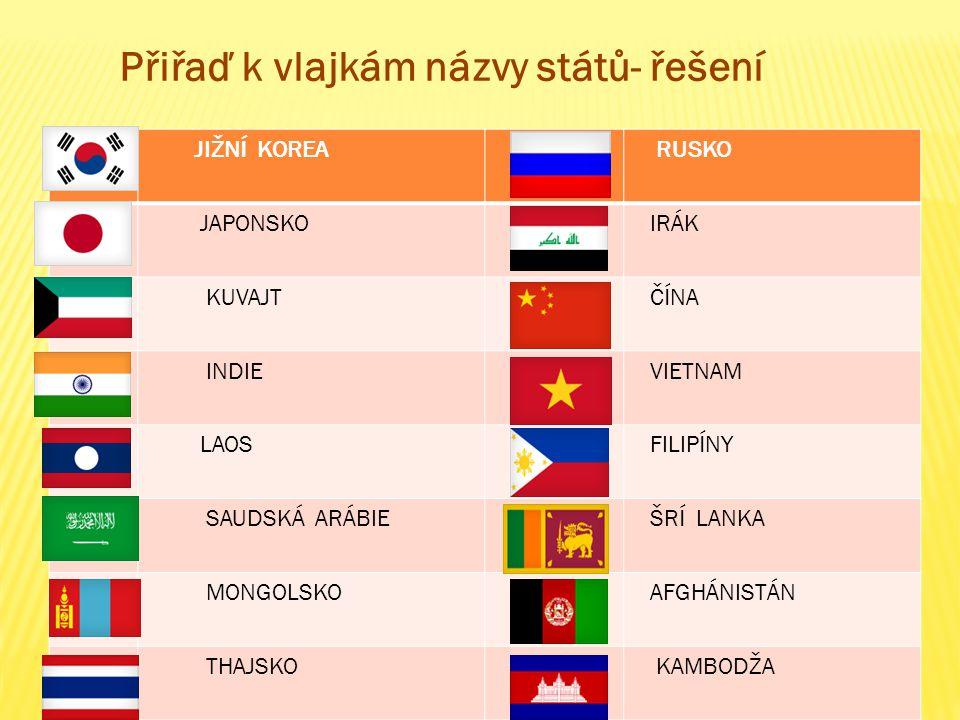 JIŽNÍ KOREA RUSKO JAPONSKOIRÁK KUVAJTČÍNA INDIEVIETNAM LAOSFILIPÍNY SAUDSKÁ ARÁBIEŠRÍ LANKA MONGOLSKOAFGHÁNISTÁN THAJSKO KAMBODŽA Přiřaď k vlajkám názvy států- řešení