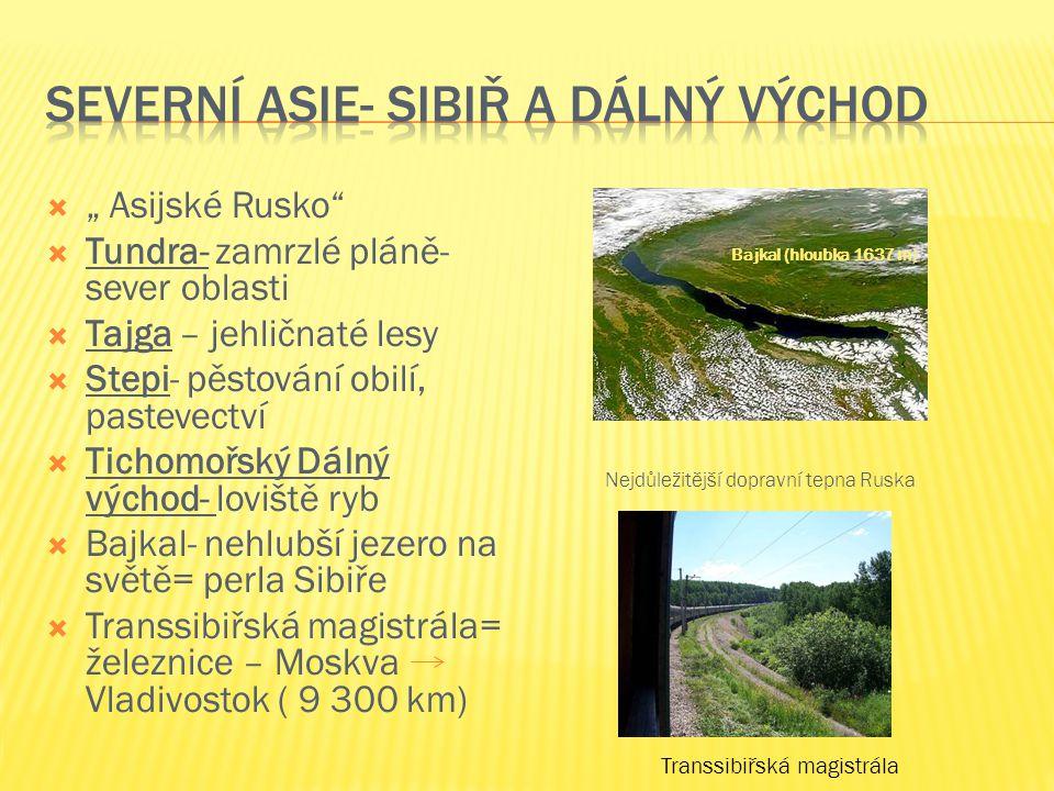 """"""""""" Asijské Rusko TTundra- zamrzlé pláně- sever oblasti TTajga – jehličnaté lesy SStepi- pěstování obilí, pastevectví TTichomořský Dálný východ- loviště ryb BBajkal- nehlubší jezero na světě= perla Sibiře TTranssibiřská magistrála= železnice – Moskva Vladivostok ( 9 300 km) Bajkal (hloubka 1637 m) Nejdůležitější dopravní tepna Ruska Transsibiřská magistrála"""