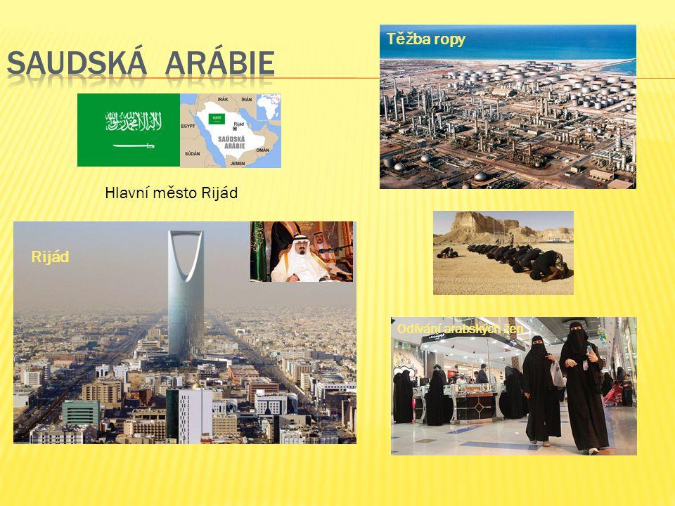 Hlavní město Rijád Rijád Odívání arabských žen Těžba ropy