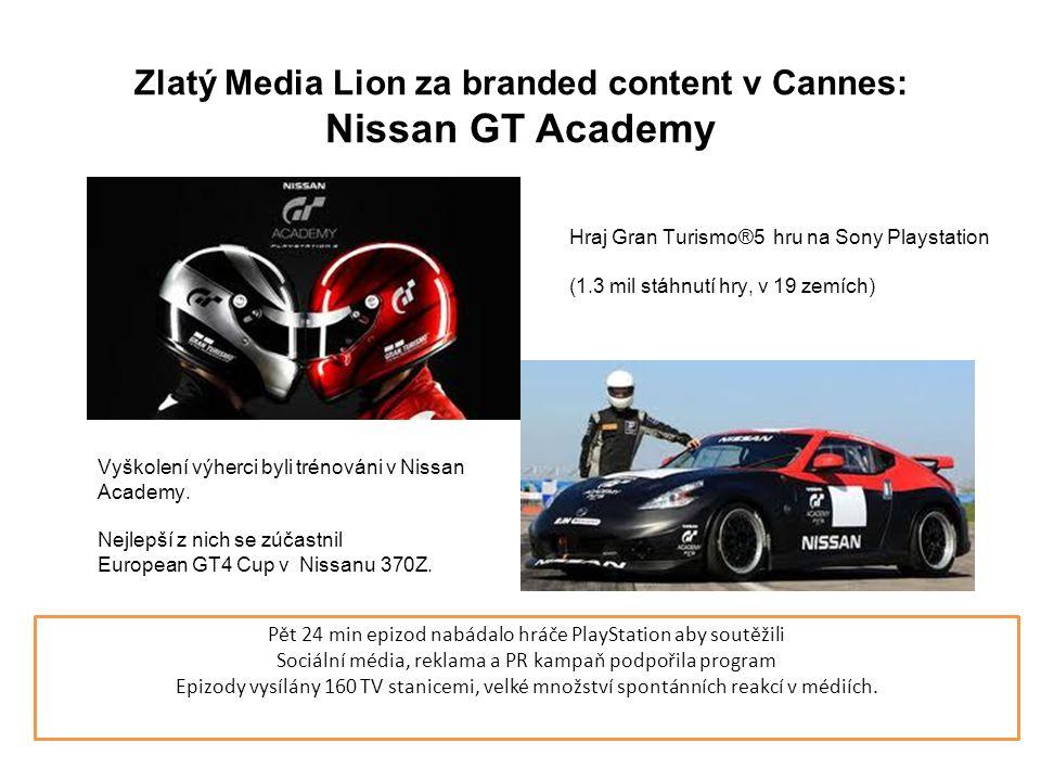 Zlatý Media Lion za branded content v Cannes: Nissan GT Academy Pět 24 min epizod nabádalo hráče PlayStation aby soutěžili Sociální média, reklama a PR kampaň podpořila program Epizody vysílány 160 TV stanicemi, velké množství spontánních reakcí v médiích.