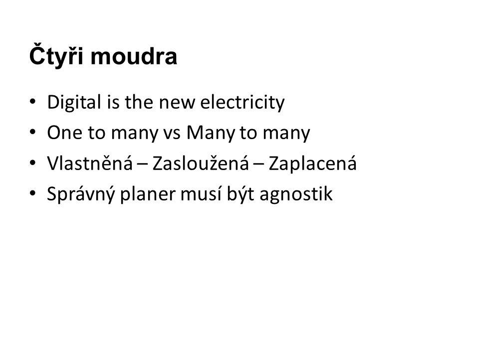 Čtyři moudra • Digital is the new electricity • One to many vs Many to many • Vlastněná – Zasloužená – Zaplacená • Správný planer musí být agnostik