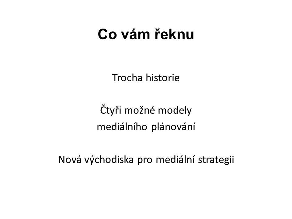 Co vám řeknu Trocha historie Čtyři možné modely mediálního plánování Nová východiska pro mediální strategii