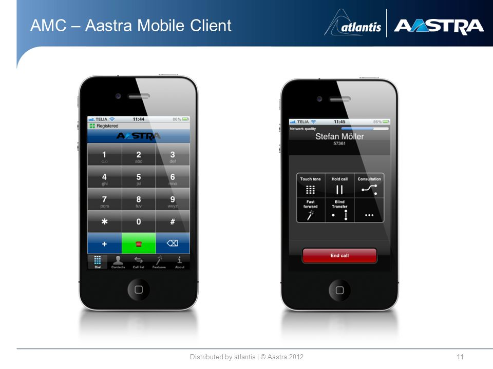 AMC – Aastra Mobile Client Distributed by atlantis | © Aastra