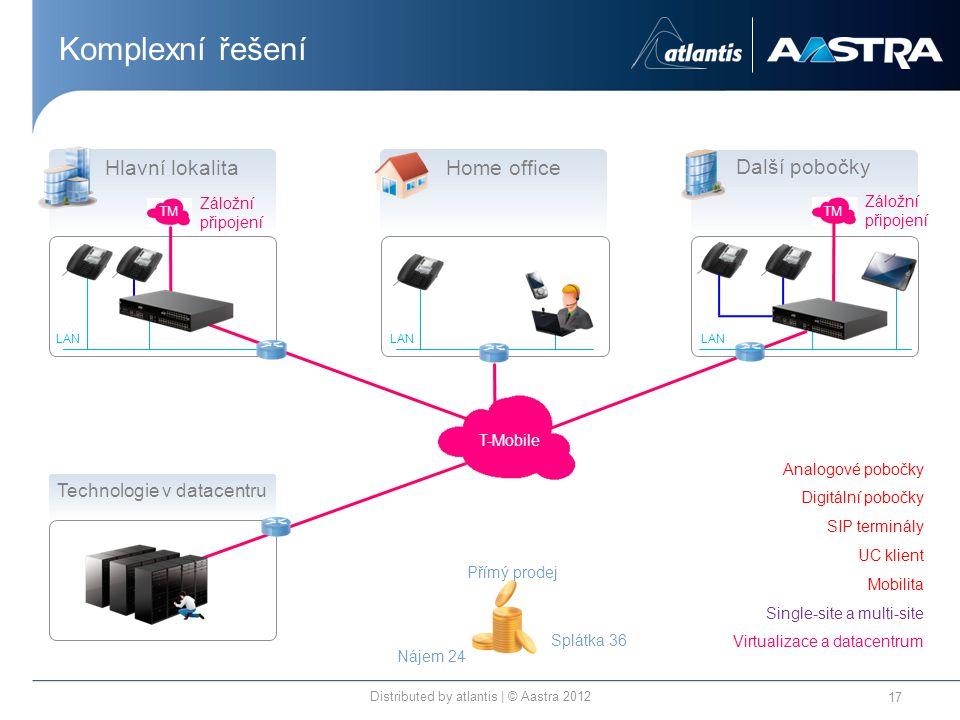 Komplexní řešení Distributed by atlantis | © Aastra 2012 17 T-Mobile TM Technologie v datacentru Splátka 36 Přímý prodej Nájem 24 LAN Hlavní lokalita