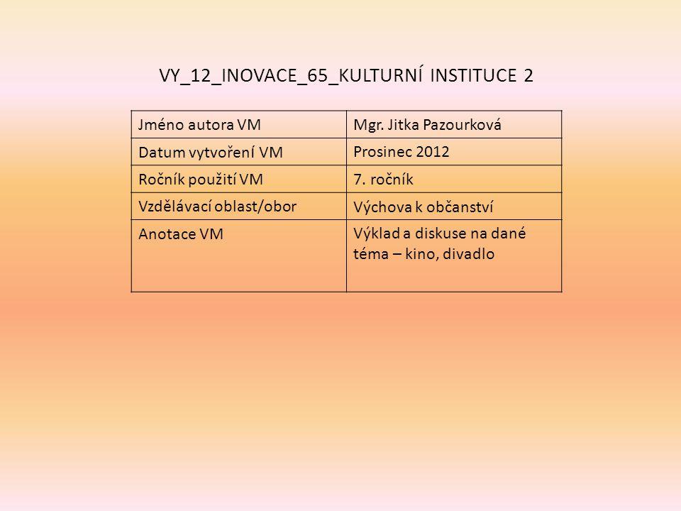 VY_12_INOVACE_65_KULTURNÍ INSTITUCE 2 Jméno autora VMMgr.