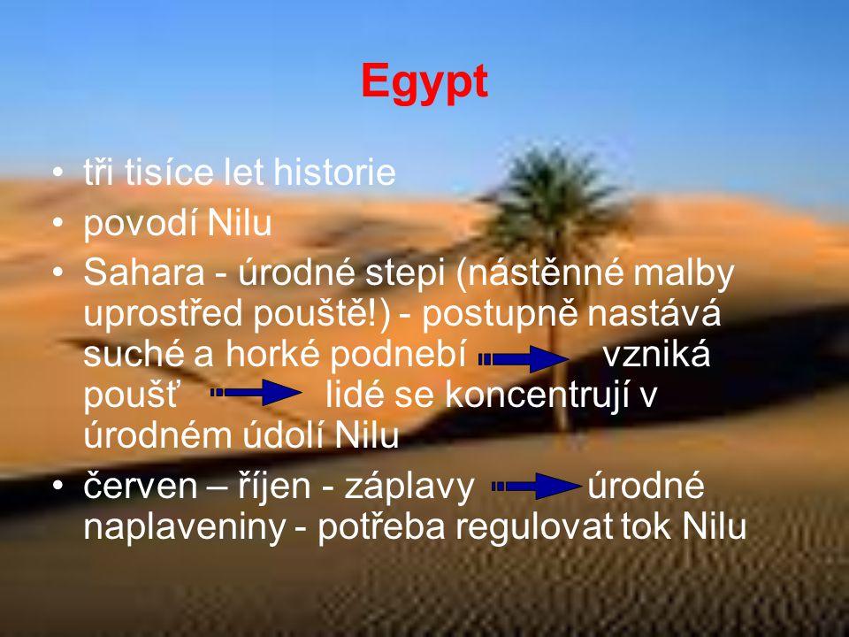 Egypt •tři tisíce let historie •povodí Nilu •Sahara - úrodné stepi (nástěnné malby uprostřed pouště!) - postupně nastává suché a horké podnebí vzniká