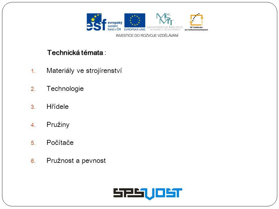 Technická témata Technická témata :  Materiály ve strojírenství  Technologie  Hřídele  Pružiny  Počítače  Pružnost a pevnost