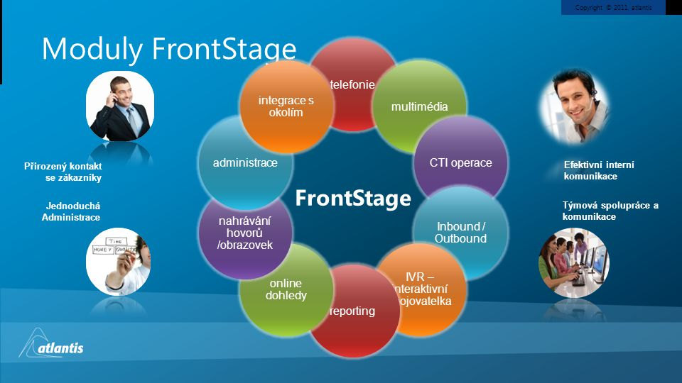 Copyright © 2011, atlantis FrontStage Moduly FrontStage telefoniemultimédiaCTI operace Inbound / Outbound IVR – interaktivní spojovatelka reporting on
