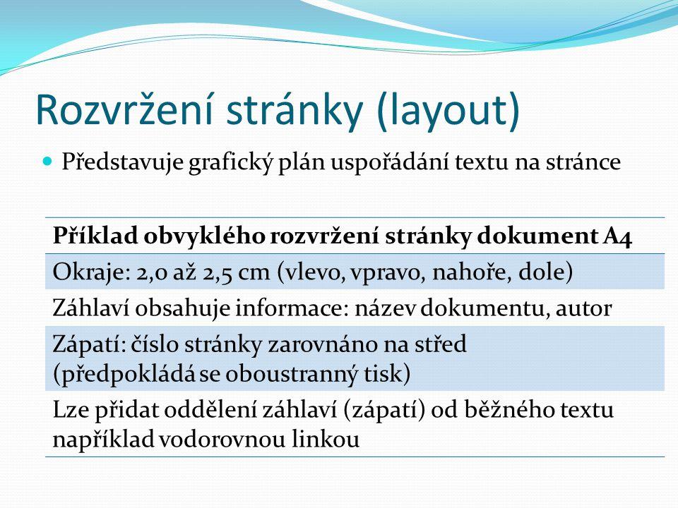 Rozvržení stránky (layout)  Představuje grafický plán uspořádání textu na stránce Příklad obvyklého rozvržení stránky dokument A4 Okraje: 2,0 až 2,5