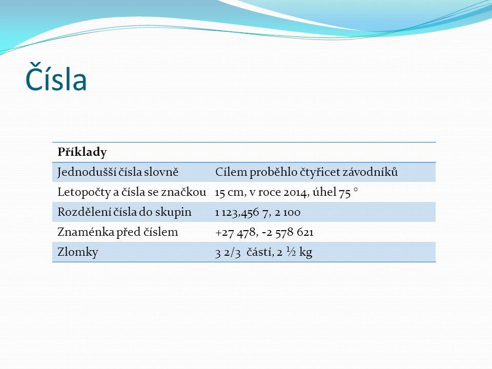 Čísla Příklady Jednodušší čísla slovněCílem proběhlo čtyřicet závodníků Letopočty a čísla se značkou15 cm, v roce 2014, úhel 75 ° Rozdělení čísla do s