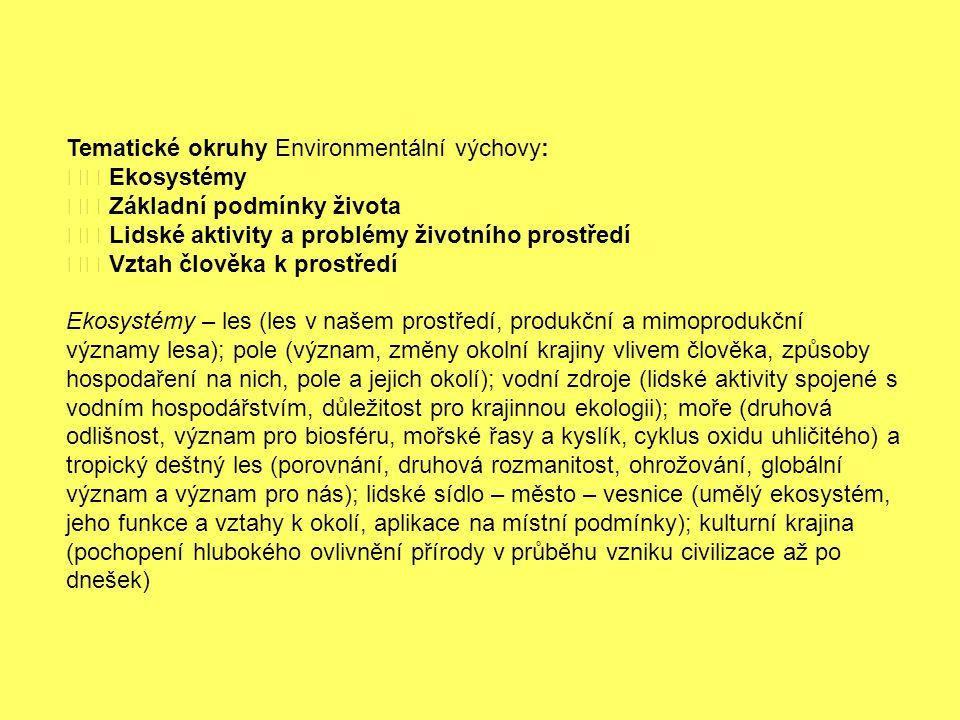 Tematické okruhy Environmentální výchovy: Ekosystémy Základní podmínky života Lidské aktivity a problémy životního prostředí Vztah člověka k prostředí Ekosystémy – les (les v našem prostředí, produkční a mimoprodukční významy lesa); pole (význam, změny okolní krajiny vlivem člověka, způsoby hospodaření na nich, pole a jejich okolí); vodní zdroje (lidské aktivity spojené s vodním hospodářstvím, důležitost pro krajinnou ekologii); moře (druhová odlišnost, význam pro biosféru, mořské řasy a kyslík, cyklus oxidu uhličitého) a tropický deštný les (porovnání, druhová rozmanitost, ohrožování, globální význam a význam pro nás); lidské sídlo – město – vesnice (umělý ekosystém, jeho funkce a vztahy k okolí, aplikace na místní podmínky); kulturní krajina (pochopení hlubokého ovlivnění přírody v průběhu vzniku civilizace až po dnešek)