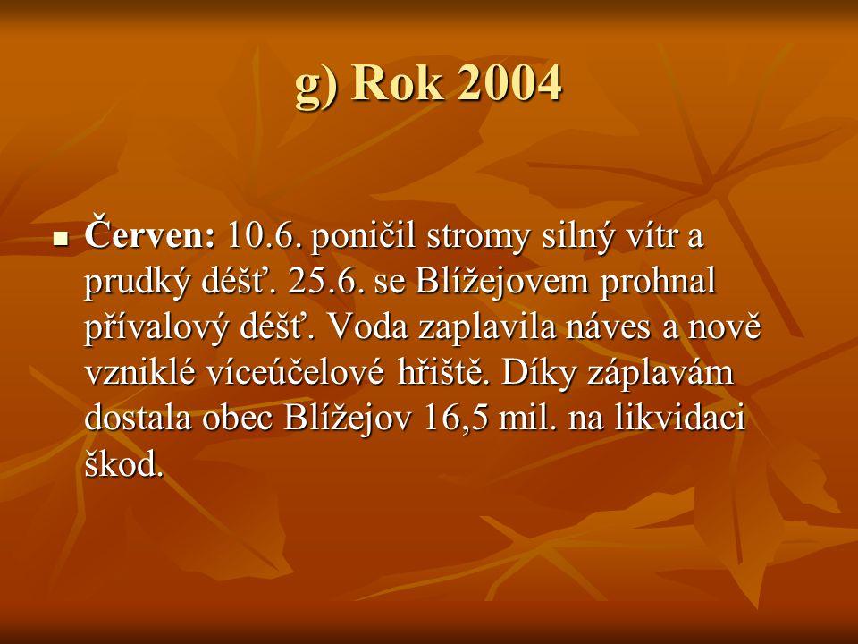 g) Rok 2004 ČČČČerven: 10.6. poničil stromy silný vítr a prudký déšť. 25.6. se Blížejovem prohnal přívalový déšť. Voda zaplavila náves a nově vzni