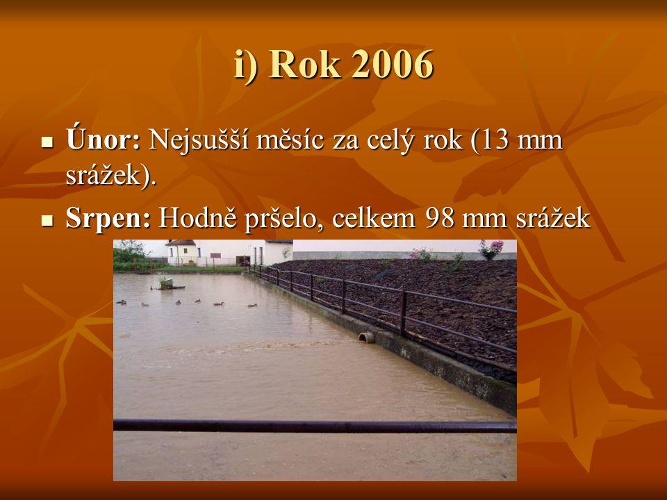 i) Rok 2006  Únor: Nejsušší měsíc za celý rok (13 mm srážek).  Srpen: Hodně pršelo, celkem 98 mm srážek