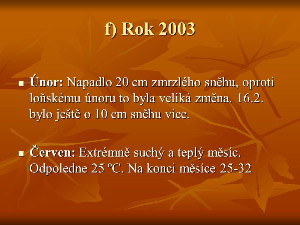 f) Rok 2003  Únor: Napadlo 20 cm zmrzlého sněhu, oproti loňskému únoru to byla veliká změna. 16.2. bylo ještě o 10 cm sněhu více.  Červen: Extrémně