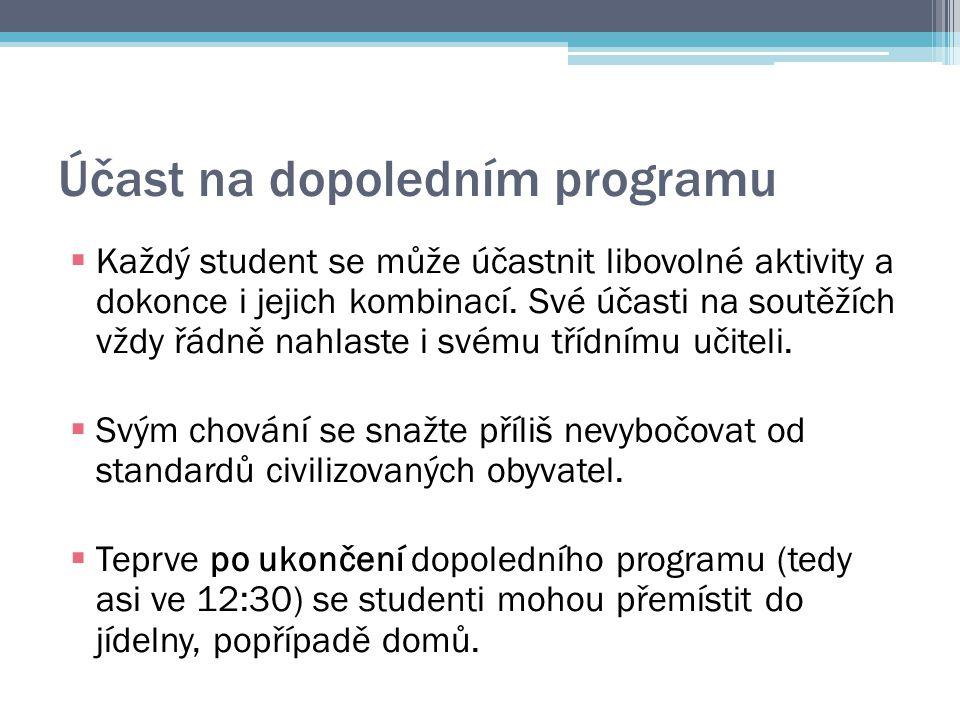 Účast na dopoledním programu  Každý student se může účastnit libovolné aktivity a dokonce i jejich kombinací.