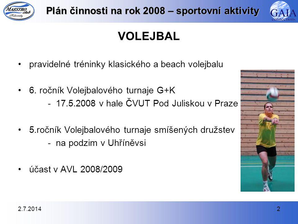 2.7.20143 Plán činnosti na rok 2008 – sportovní aktivity NOHEJBAL •pravidelné tréninky v tělocvičně a na venkovním hřišti - nejlépe dvakrát týdně •Nohejbalového turnaje trojic - 23.8.2008 v Uhříněvsi •účast na dalších turnajích během roku •Městský přebor družstev 2008 - plánujeme přihlásit naše družstvo