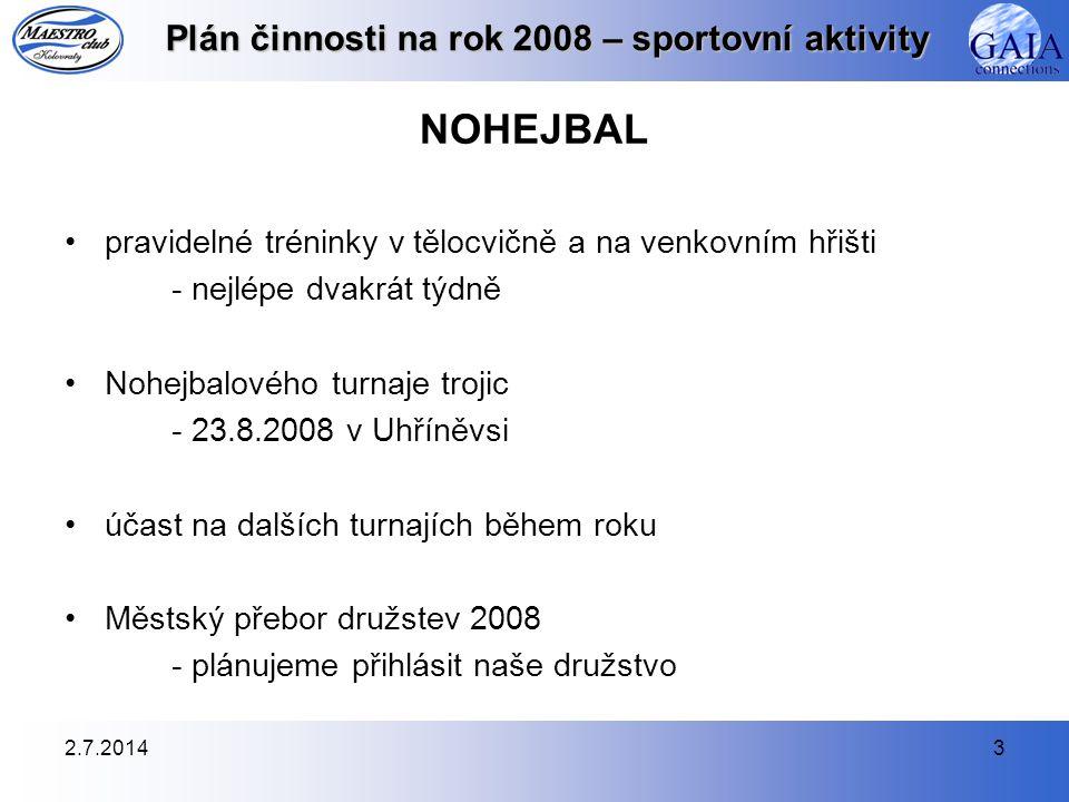 2.7.20143 Plán činnosti na rok 2008 – sportovní aktivity NOHEJBAL •pravidelné tréninky v tělocvičně a na venkovním hřišti - nejlépe dvakrát týdně •Noh