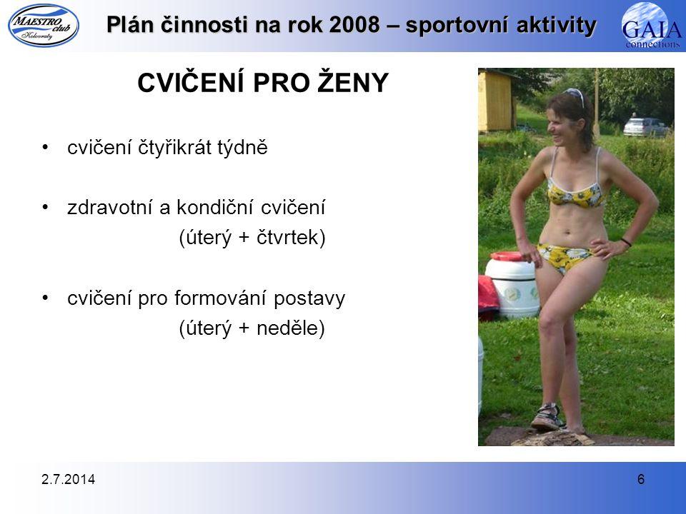 2.7.20146 Plán činnosti na rok 2008 – sportovní aktivity CVIČENÍ PRO ŽENY •cvičení čtyřikrát týdně •zdravotní a kondiční cvičení (úterý + čtvrtek) •cv