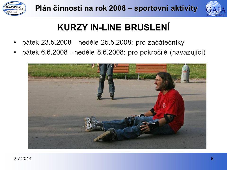 2.7.20148 Plán činnosti na rok 2008 – sportovní aktivity KURZY IN-LINE BRUSLENÍ •pátek 23.5.2008 - neděle 25.5.2008: pro začátečníky •pátek 6.6.2008 -