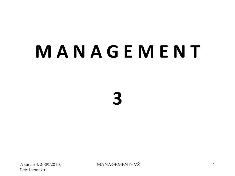 Akad. rok 2009/2010, Letní semestr MANAGEMENT - VŽ1 M A N A G E M E N T 3