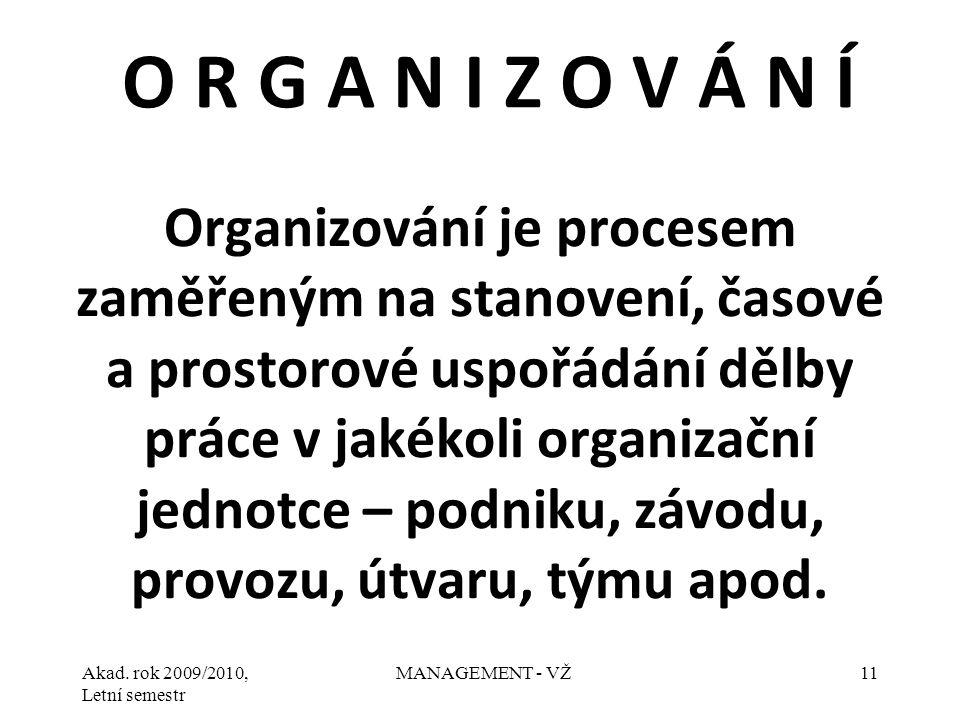 Akad. rok 2009/2010, Letní semestr MANAGEMENT - VŽ11 Organizování je procesem zaměřeným na stanovení, časové a prostorové uspořádání dělby práce v jak
