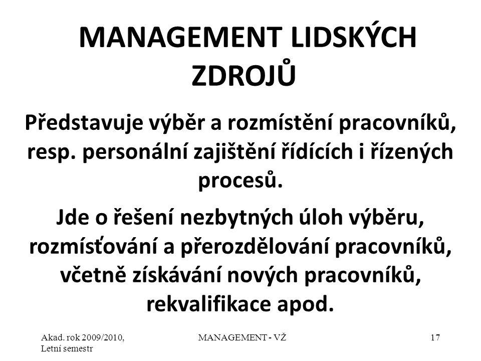 Akad. rok 2009/2010, Letní semestr MANAGEMENT - VŽ17 Představuje výběr a rozmístění pracovníků, resp. personální zajištění řídících i řízených procesů