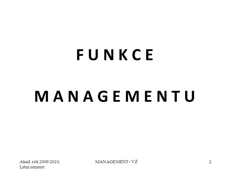 Akad. rok 2009/2010, Letní semestr MANAGEMENT - VŽ2 F U N K C E M A N A G E M E N T U